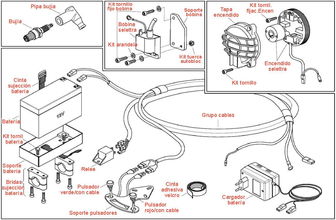 grupo cableado Encendido, conjunto eléctrico para motor kart puma 64